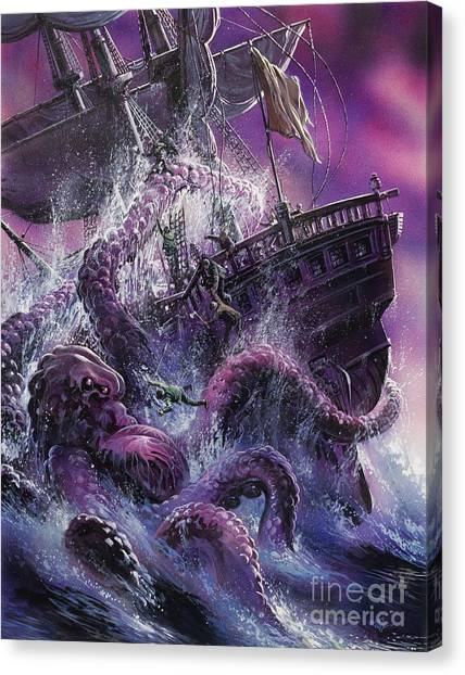Squids Canvas Print - Terror From The Deep by Oliver Frey