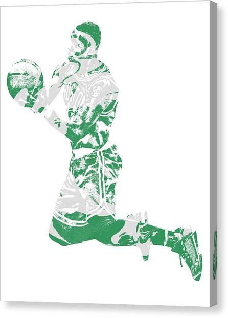 Boston Celtics Canvas Print - Terry Rozier Boston Celtics Pixel Art 12 by Joe Hamilton