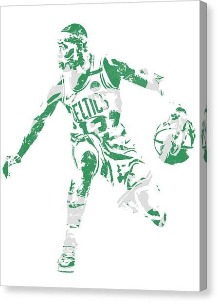 Boston Celtics Canvas Print - Terry Rozier Boston Celtics Pixel Art 13 by Joe Hamilton