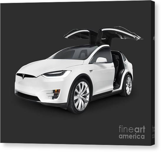 Tesla Model X Luxury Suv Electric Car With Open Falcon-wing Doors Art Photo Print Canvas Print