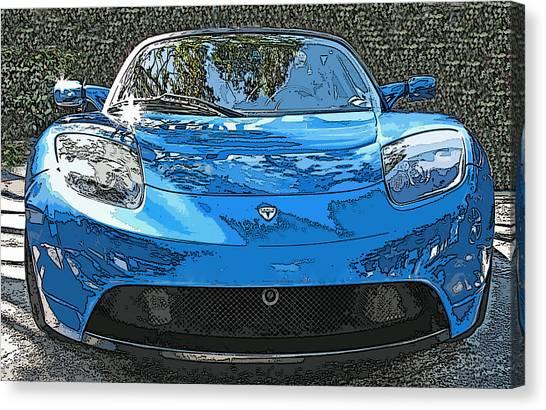 Tesla Roadster Electric Sports Car Canvas Print