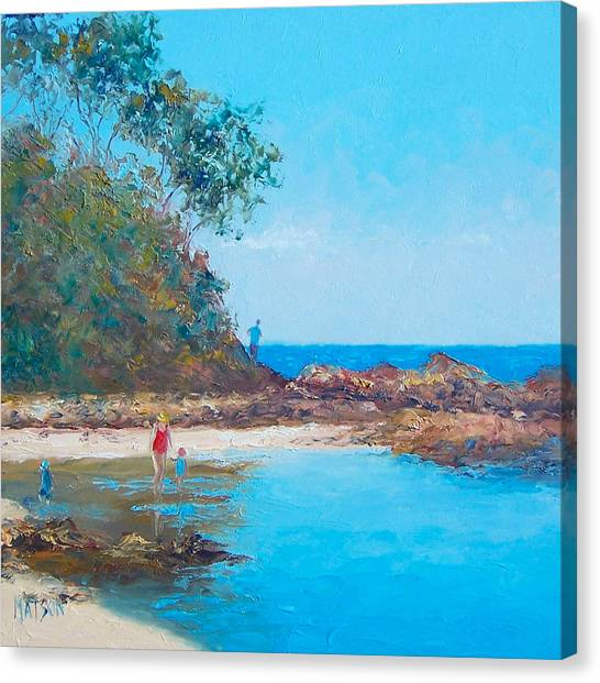 People Walking On Beach Canvas Print - Testing The Water by Jan Matson