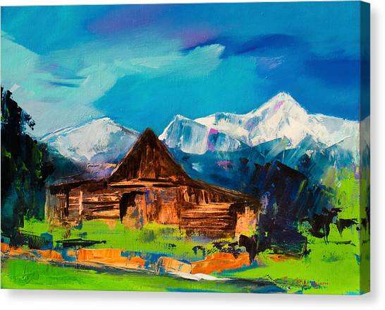 Yellowstone Canvas Print - Teton Barn  by Elise Palmigiani