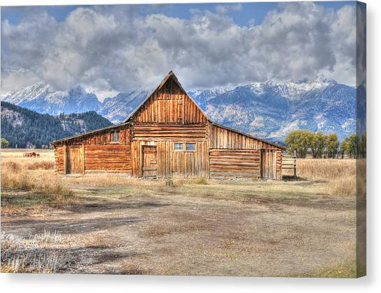 Canvas Print featuring the photograph Teton Barn Front View by David Armstrong