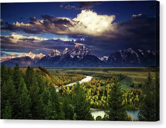 Teton National Forest Canvas Print - Teton Cloudburst by Andrew Soundarajan