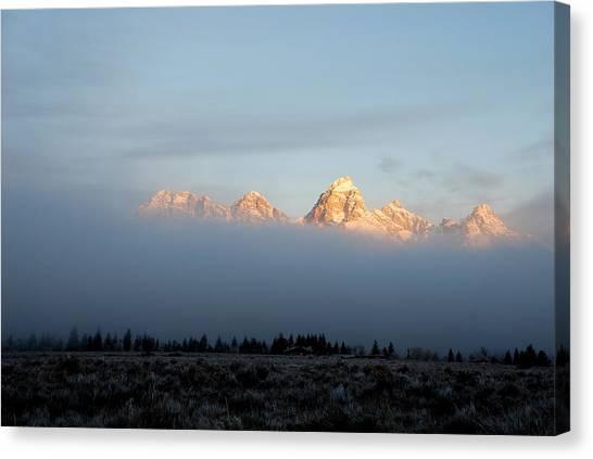 Teton Foggy Morning Canvas Print