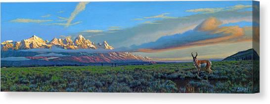 Tetons Canvas Print - Teton Morning by Paul Krapf