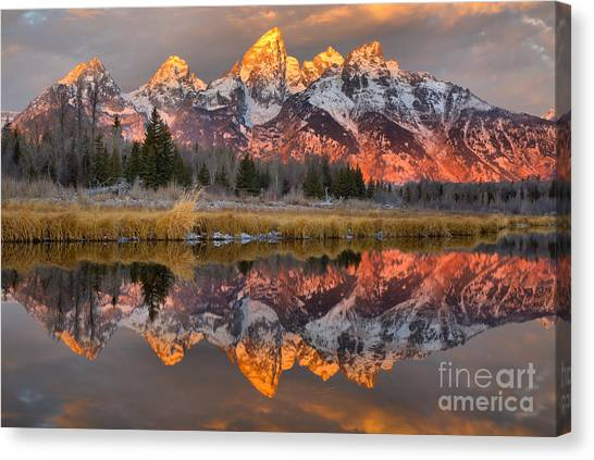 Teton Mountains Sunrise Rainbow Canvas Print