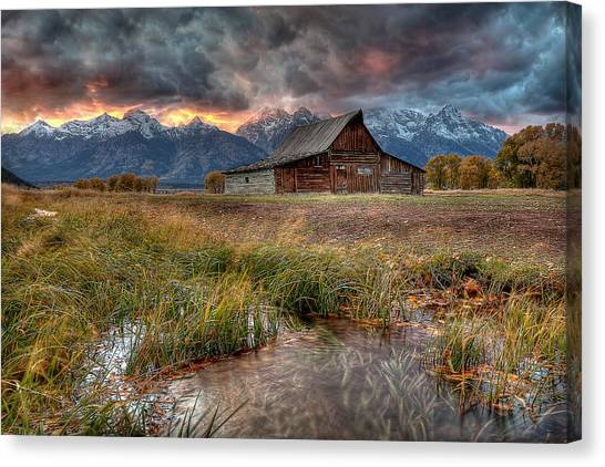 Grand Tetons Canvas Print - Teton Nightfire At The Ta Moulton Barn by Ryan Smith
