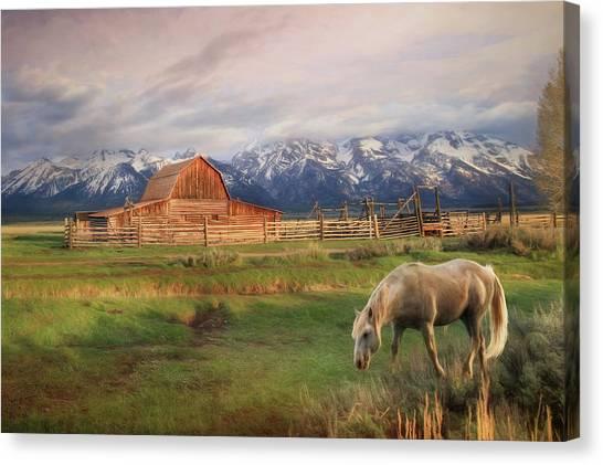 Teton National Forest Canvas Print - Teton Ranch by Lori Deiter