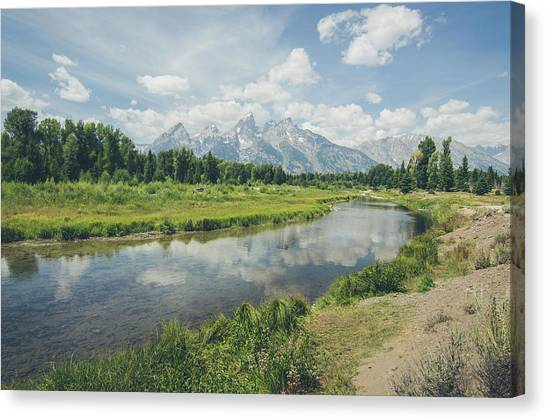 Canvas Print featuring the photograph Teton Reflections by Margaret Pitcher