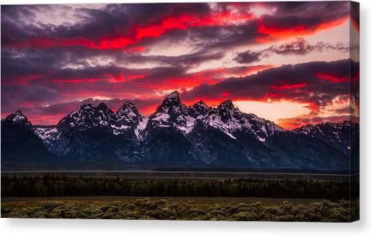 Teton Canvas Print - Teton Sunset by Darren White