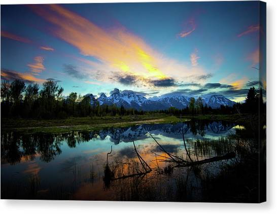 Canvas Print featuring the photograph Teton Sunset by Norman Hall