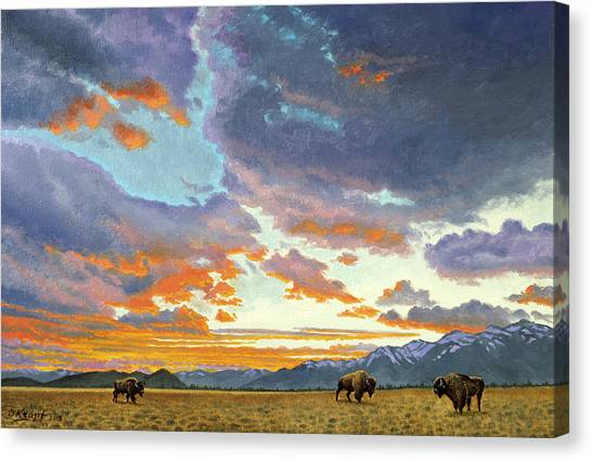 Wyoming Canvas Print - Tetons-looking South At Sunset by Paul Krapf