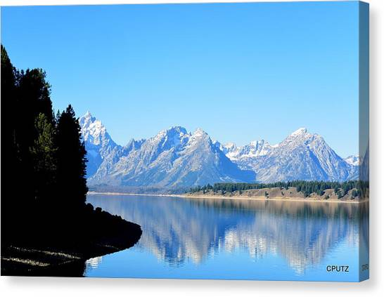 Tetons Reflection Canvas Print by Carrie Putz