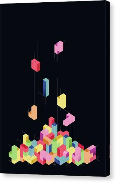 Tetris Canvas Print - Tetrisometric by Julien Missaire