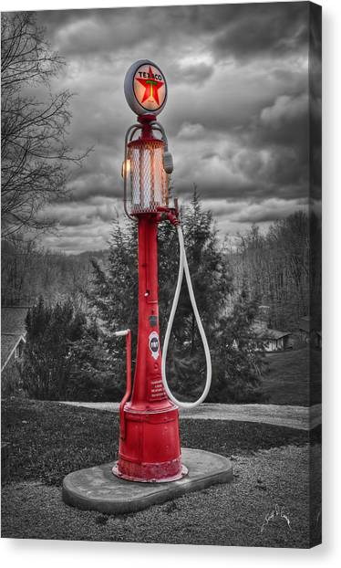 Canvas Print featuring the photograph Texaco Gas Pump by Williams-Cairns Photography LLC