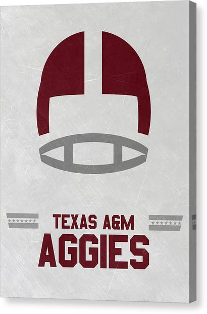 Texas A Canvas Print - Texas A M Aggies Vintage Football Art by Joe Hamilton