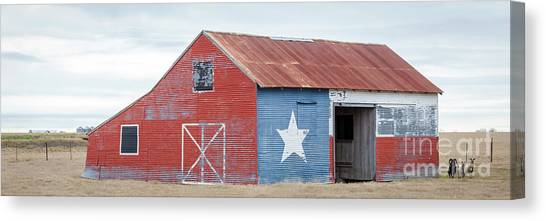 Texas Barn With Goats And Ram On The Side Canvas Print