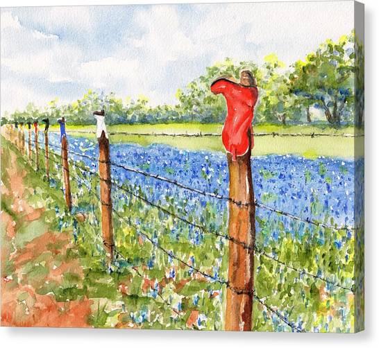 Texas Bluebonnets Boot Fence Canvas Print