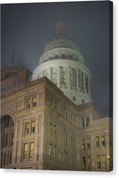 Texas Capitol In Fog Canvas Print