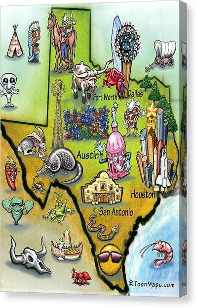 Texas Cartoon Map Canvas Print