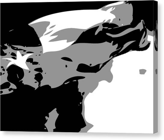 Texas Flag In The Wind Bw3 Canvas Print