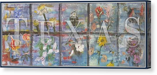 Texas Flowers In Blue Canvas Print
