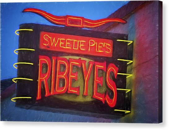 Ribeye Canvas Print - Texas Impressions Sweetie Pie's Ribeyes by Joan Carroll