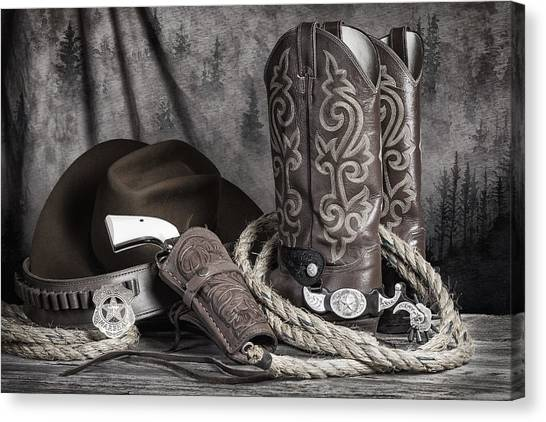 Cowboy Boots Canvas Print - Texas Lawman by Tom Mc Nemar