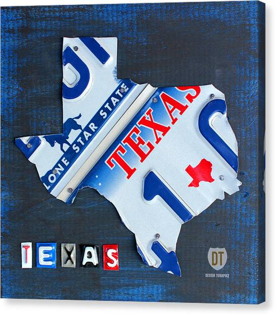 Dallas Stars Canvas Print - Texas License Plate Map by Design Turnpike