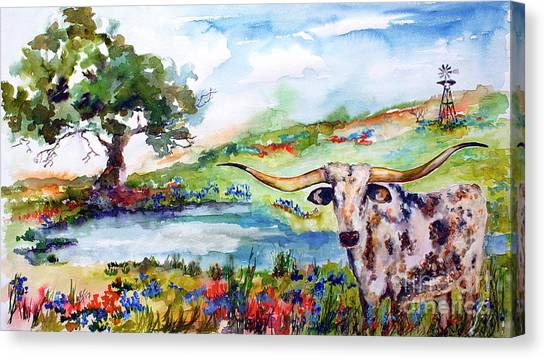 Texas Longhorn Landscape With Bluebonnets And Indian Paintbrush Canvas Print