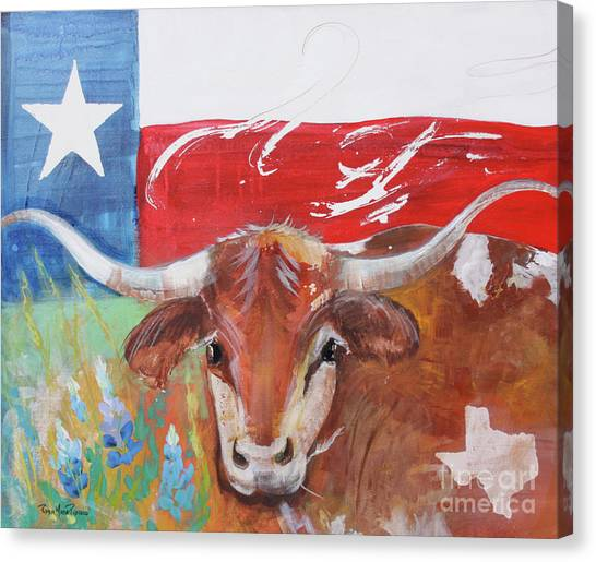 Canvas Print featuring the painting Texas Longhorn by Robin Maria Pedrero