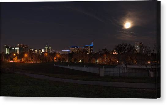 Wolf Moon Canvas Print - Texas Medical Center Moonset by Joshua House