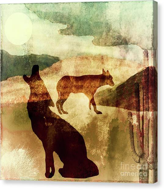 Howling Wolves Canvas Print - Texas Prairie I by Mindy Sommers
