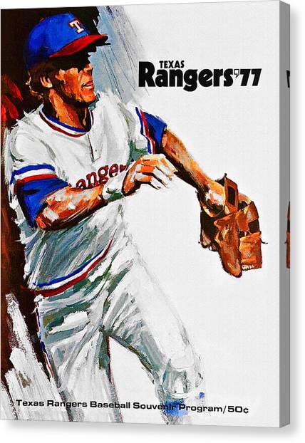 Nolan Ryan Canvas Print - Texas Rangers 1977 Program by John Farr