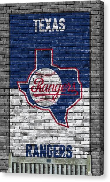Texas Rangers Canvas Print - Texas Rangers Brick Wall by Joe Hamilton