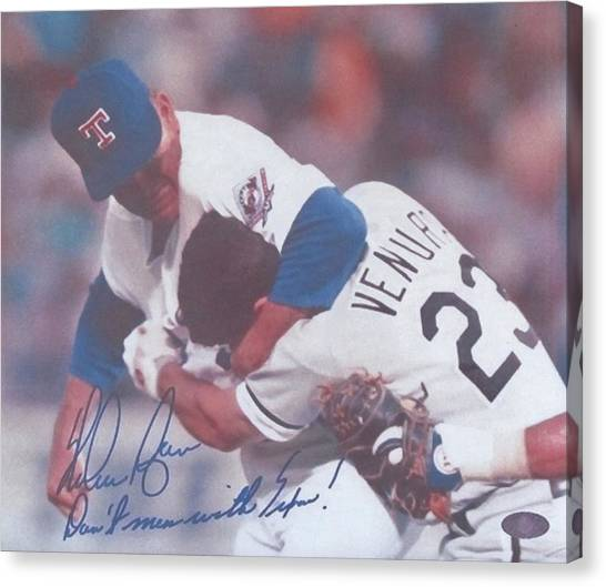 Nolan Ryan Canvas Print - Texas Rangers Nolan Ryan Don't Mess With Texas The Fight On The Mound by Donna Wilson