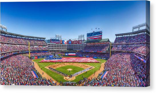 Texas Rangers Canvas Print - Texas Rangers Opening Day 2016 by Stephen Stookey