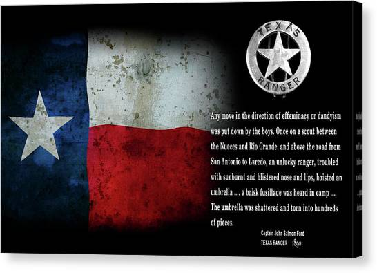Texas Rangers Canvas Print - Texas Rangers Quote On Effeminacy And Dandyism  1890 by Daniel Hagerman