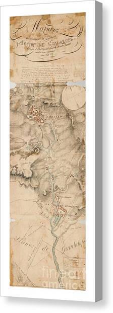 Texas Revolution Santa Anna 1835 Map For The Battle Of San Jacinto With Border Canvas Print