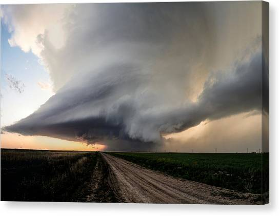 Hailstorms Canvas Print - Texas Supercell At Evening by Eugene Thieszen