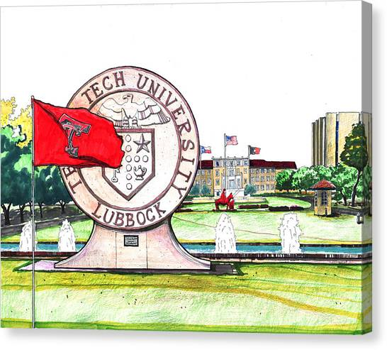 Texas Tech University Canvas Print - Texas Tech University Seal Statue by Yang Luo-Branch