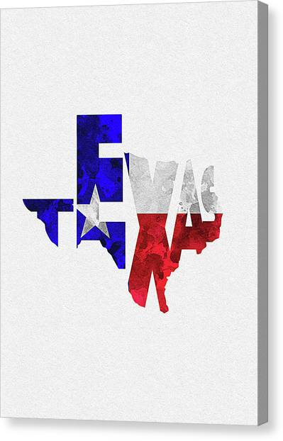 Texas Typographic Map Flag Canvas Print