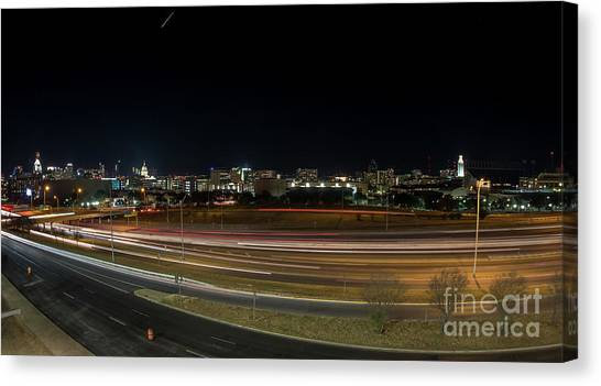 Texas University Tower And Downtown Austin Skyline From Ih35 Canvas Print