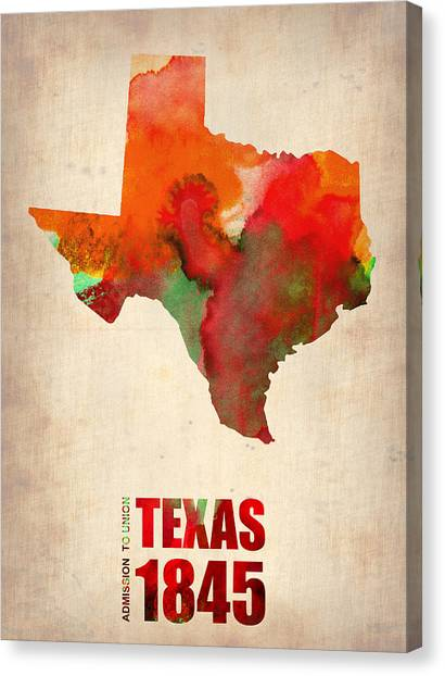 Texas Canvas Print - Texas Watercolor Map by Naxart Studio