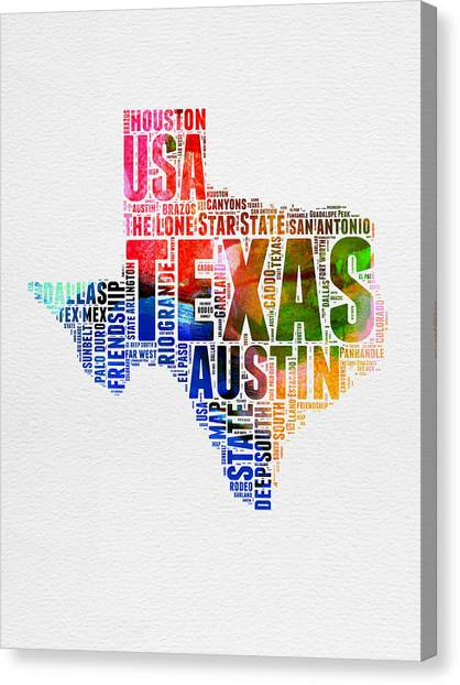 Austin Canvas Print - Texas Watercolor Word Cloud  by Naxart Studio