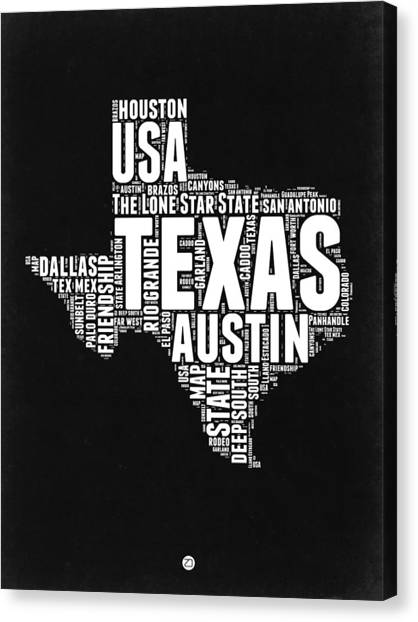 Independence Day Canvas Print - Texas Word Cloud Black And White Map by Naxart Studio