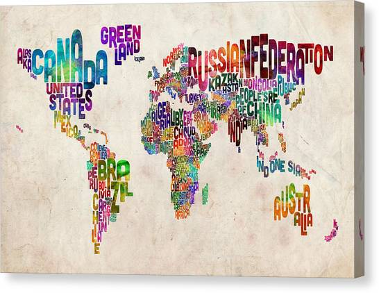 Map Canvas Print - Text Map Of The World by Michael Tompsett