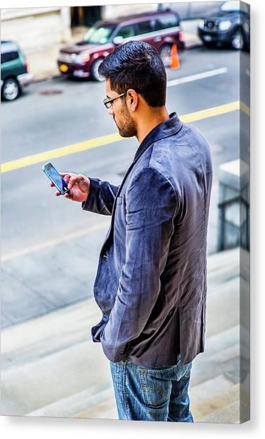 Man Texting Canvas Print